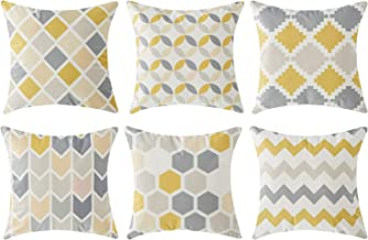 Top Finel Square Decorative Throw Pillow Covers Soft Microfiber Outdoor Cushion Covers 18 x 18 for Couch Sofa Bedroom, Set of 6, Grey & Yellow