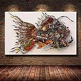 UIOLK Peces Divertidos impresión Creativa Lienzo Pintura Pintura Decorativa Sala de Estar Dormitorio decoración Arte Moderno ensamblaje de Piezas