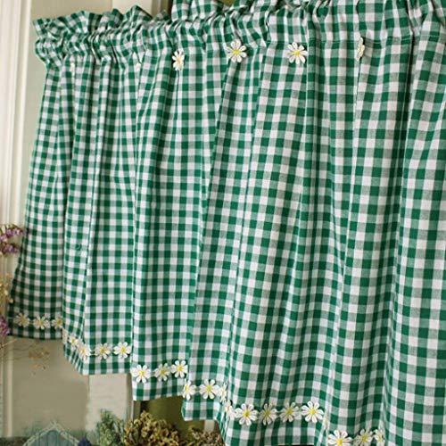 XUNMAIFLB Cuadros Cortina de Cocina Algodón Cortina Corta Rojo Verde