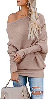 IRISGOD Womens-Off-Shoulder-Sweater Batwing Sleeve Ribbed Knit Cashmere Pullover Tops