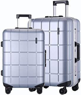 """WHPSTZ Trolley Travel Suitcase Waterproof Lightweight Lightweight 24"""" Suitcase Men and Women 20 Inch PC Business Boarding Case Trolley case (Color : Silver, Size : 24 inch)"""