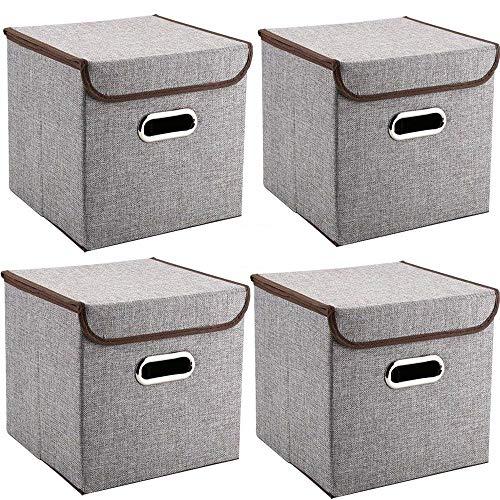 MEE'LIFE Cajas de Almacenamiento 4-Pack Tejido de Lino Cubos de Almacenamiento Plegables...