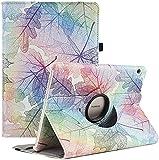 RLINGX Funda para Huawei MediaPad T3 10 - Giratoria 360 grados de rotación Funda protectora Stand Case para Huawei MediaPad T3 10 (9.6' Zoll) (Colorful Leaves)