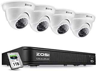 ZOSI 8 Channel Video Security Camera System,1080p Lite Surveillance DVR Recorder and (4) 720p Weatherproof Dome CCTV Camera Outdoor/Indoor with Night Vision(No Hard Drive)