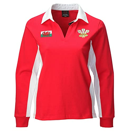 3f543cfd5fc Manav (UK) Ladies Welsh Contrast Long Sleeve Red Rugby Shirt