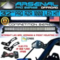 "Arsenal No.1 32"" Straight Pol.aris RZR XP900 XP1000 LED Light Bar KIT 180w Flood/Spot Combo Beam CREE 3w LED's 18,000 Lumen Fits: Polaris RZR XP900 XP1000 RZR4 XP4 2014-UP, Front mounts, Wire Harness"