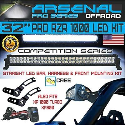 "Arsenal No.1 32"" Straight Pol.aris RZR XP900 XP1000 LED Light Bar KIT 180w Flood/Spot Combo Beam CREE 3w LED's 18,000 Lumen Fits: Polaris RZR XP900 XP1000 RZR4 XP4 2014-UP, Front mounts, Wire Harness"