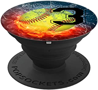 Cool Softball Fire and Ice Player #3 Gift Design Girls Team - PopSockets Grip and Stand for Phones and Tablets