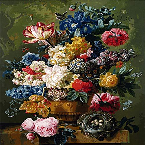 Flores clásicas Diy Pintura Kit digital Pintura acrílica Pintura digital Arte de la pared 60x75cm