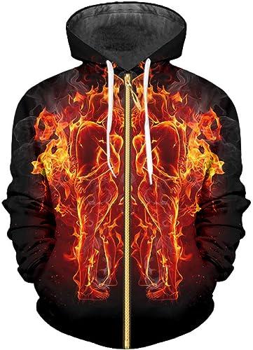 Ai Ya-weiyi Rohomme Pour des hommes sweat à capuches Zip 3D Printed Flame Hug Couple Beau SurvêteHommest Fermeture éclair Homme Hip Hop Sweat Glitter Gothique