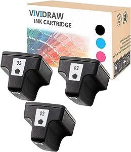 VIVIDRAW Compatible Ink Cartridge Replacement for HP 02 Work for HP PhotoSmart C6150 C6180 C7150 C7180 C7280 D7260 D7360 D7160 D7460 C8180 C6100 C5100 D7363 C5150 3110 3210 8250 8230 (3BLACK)