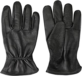 Men's Full-Grain Leather Driver Work Gloves, Black Cowhide Leather Shooting Gloves for industrial production/Riding/Driving/Gardening/Farm Hunting Gloves - Extremely Soft and Sweat-absorbent(Large)