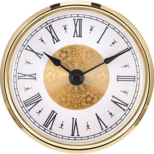 Hicarer 3-1/8 Pulgadas (80 mm) Inserto de Reloj con Numeral Arábigo, Movimiento de Cuarzo, Borde Dorado