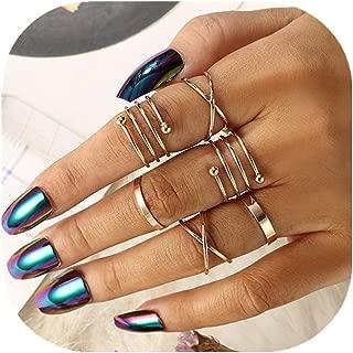 POYDORA Vintage Gold Bohemian Stack Rings V Rhinestone Joint Rings Knuckle Nail Ring Set for Women Girls (6 Pcs)