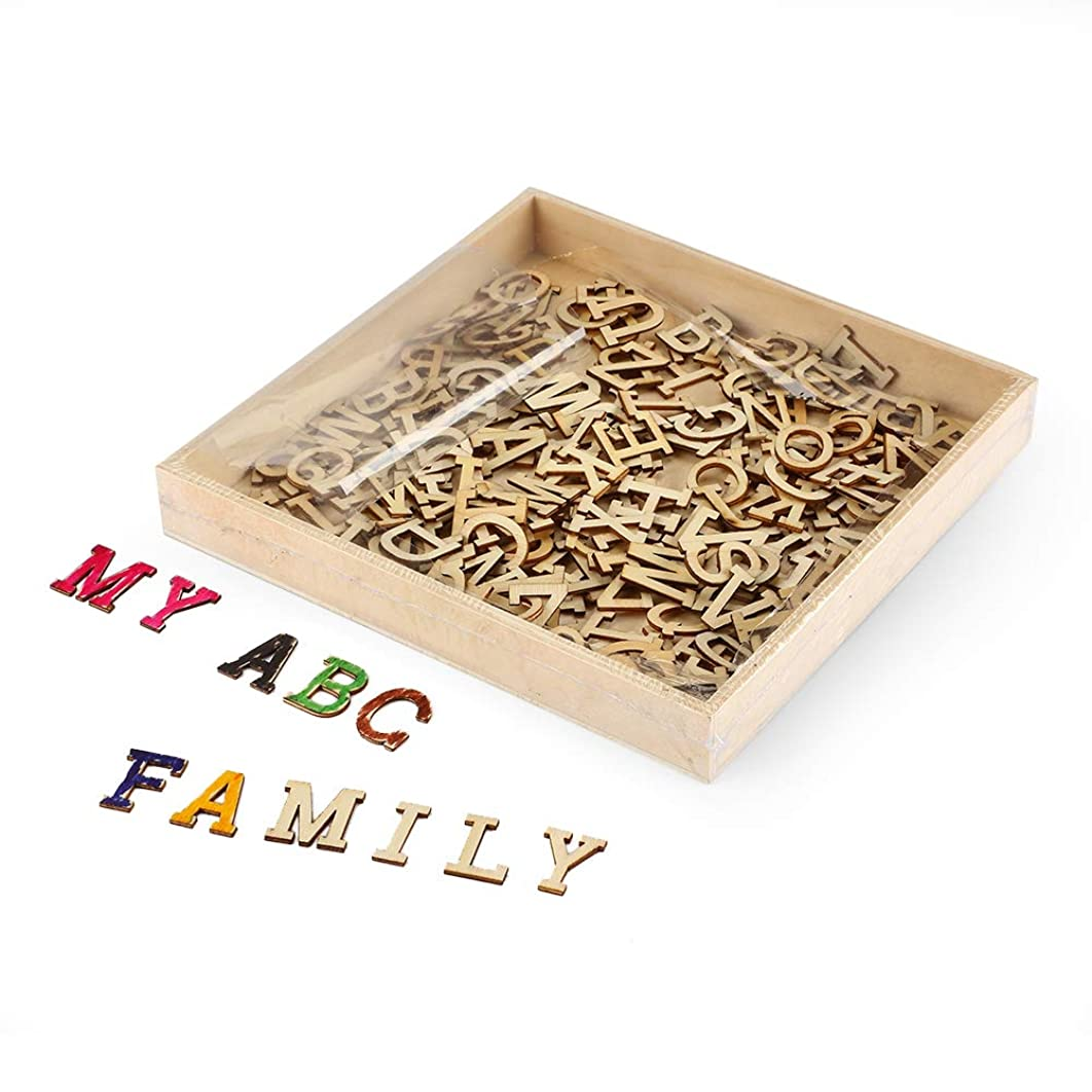 Joy-Leo 0.8 Inch Small Wooden Craft Alphabet Letters Wood Cutouts with Storage Tray(234pcs/Capital A to Z), Wood Letters Cutouts for Sign Crafts & Wall Room Décor& Decorative Signs &Party Decoration