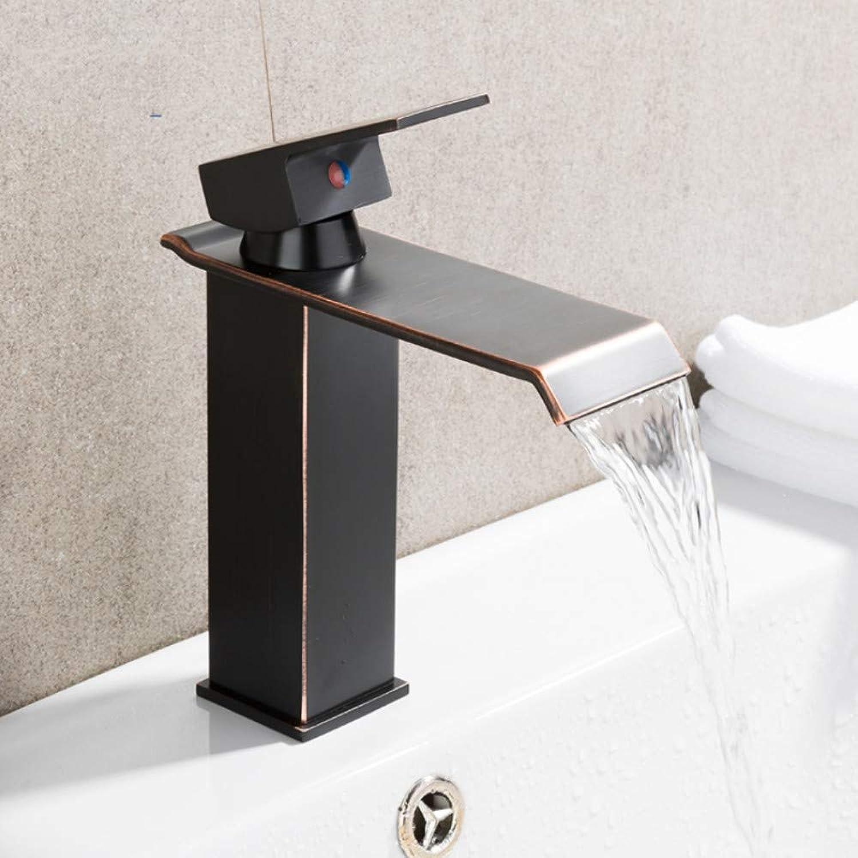 Lddpl Black Basin Faucet Waterfall Single Handle Tap Vanity Sink Mixer Taps Deck Mounted Basin Bathroom Faucets Crane Y10142