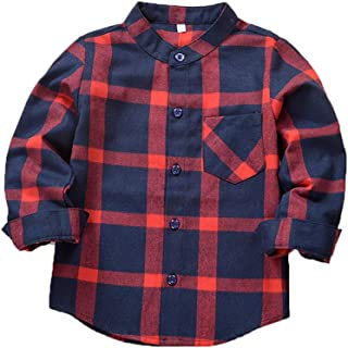 Baby Boys Girls Long Sleeve Button Up Cotton Flannel Plaid Pocket Shirts