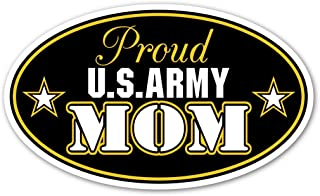 Proud US Army Mom U.S. Armed Forces Euro Vinyl Bumper Sticker Decal - Ideal For use on Car windows, Bumpers, Walls, Doors, Glass Windows or Any Other Clean Smooth Surfaces 3