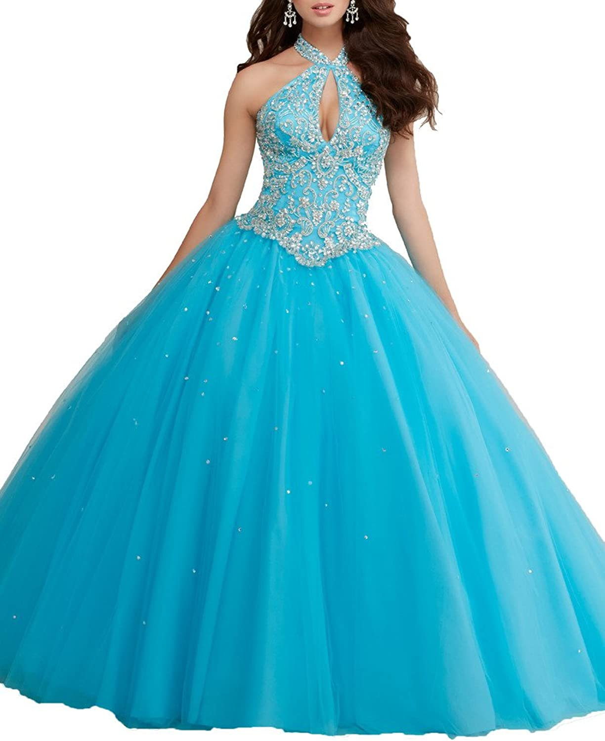 HSDJ Women's Halter Sweet 16 Prom Ball Gowns Crystal Beaded Quinceanera Dresses