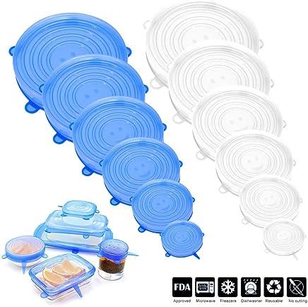 Boles o Tarros Vetoo 16pcs Reutilizables Tapas de Silicona El/ásticas /& 1000 ml Bolsas de Alimentos Apta para Lavavajillas