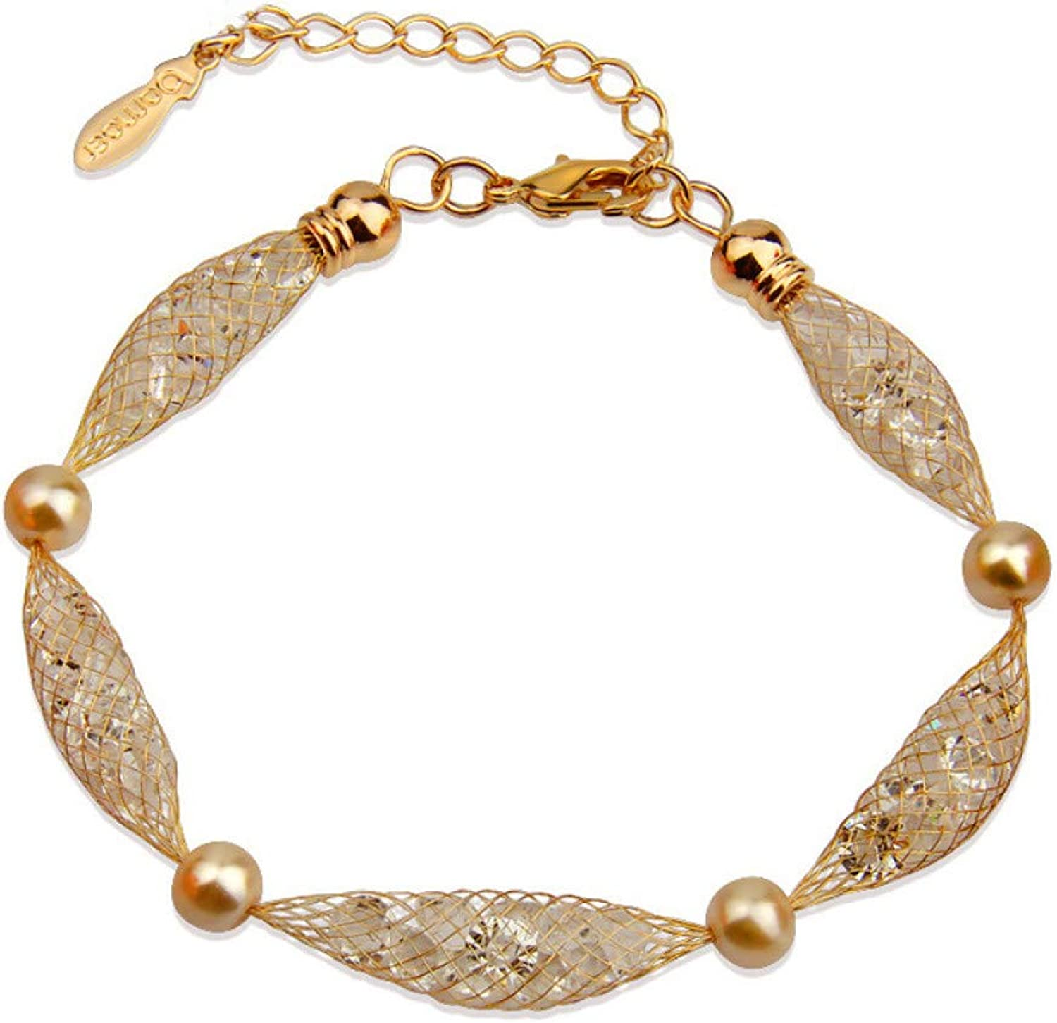 GMYANYSZ Newest Arrival Luxury Champagne gold color Bracelet for Women Crystal Birthday Gift Jewelry