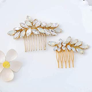 Brishow Bride Wedding Hair Comb Crystal Opal Gold Bridal Hair Pieces Rhinestone Hair Accessories for Women and Girls (Pack of 2)