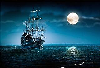 BuEnn 7x5ft Piratenschiff Hintergrund Vintage Corsair Boot Fotografie Hintergrund Düster Mond Nacht Alt Marine Board Nautischen Stil Banner Fotostudio Requisiten Junge Kind Porträt Vinyltapete