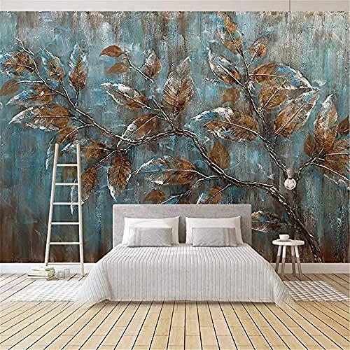 XHXI Mural Wallpaper Floral Custom Mural Wallpaper for Bedroom European Style Oil Painting Tree Leaves Art Background Wa 3D Wallpaper Paste Living Room The Wall for Bedroom Mural border-150cm×105cm