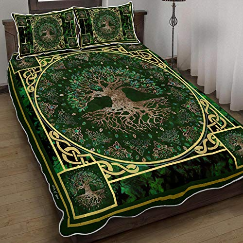 Irish Celtic Tree of Life Quilts Bed Set Bedding Set 3 Pieces Quilt Cover with Pillowcase Cover Soft Comfortable for Kids Parents Us Twin Queen King Size