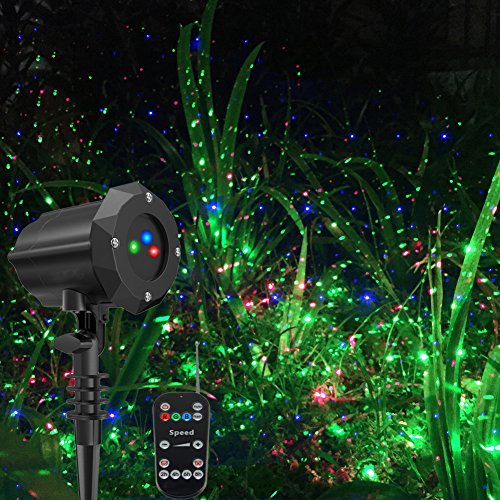Poeland Garden Lights Star Christmas Projector Moving Firefly Lighting LEDs Color Blue Green Red