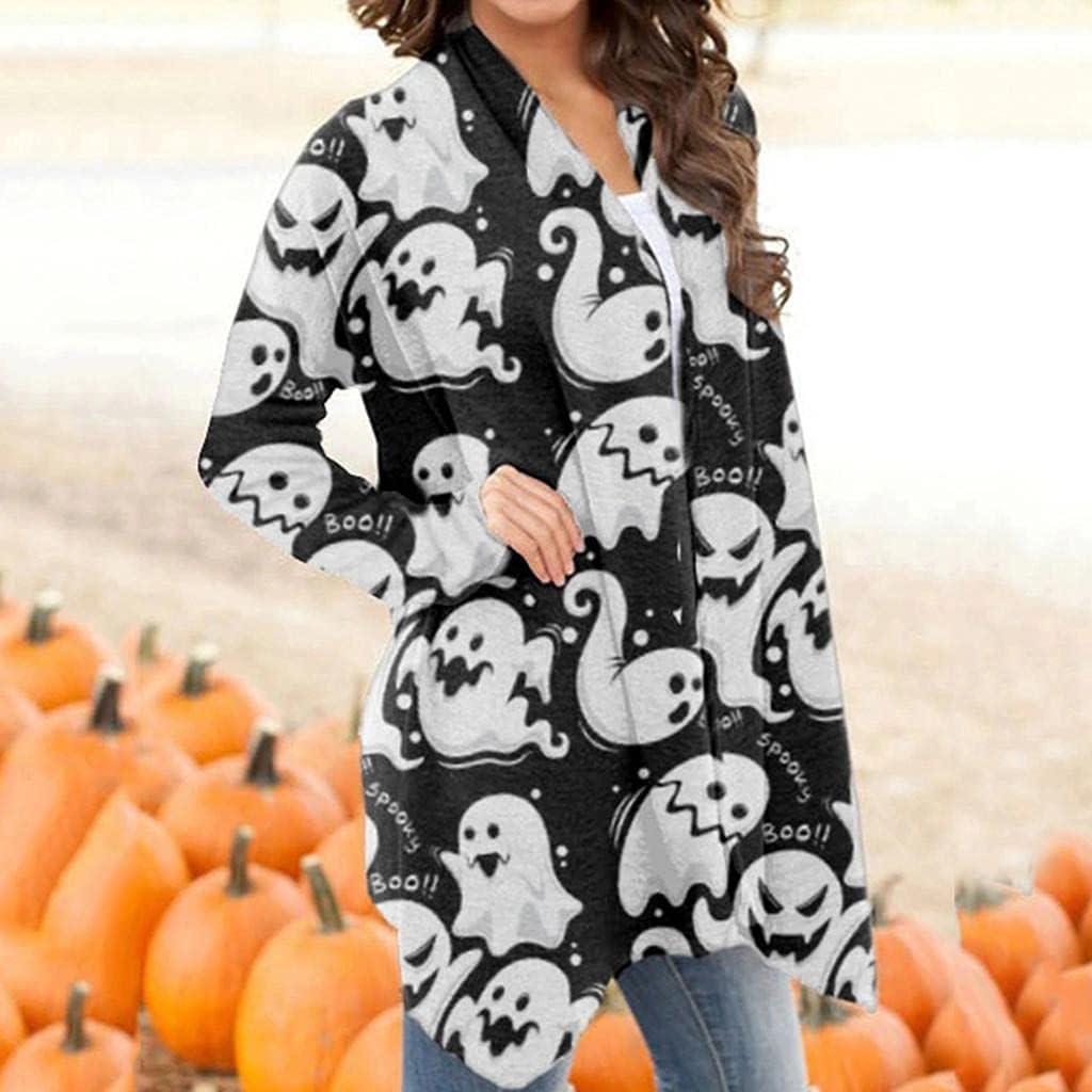 Women's Halloween Long Sleeve Cardigan Open Front Tops Funny Casual Pumpkin Cat Ghost Print Autumn Lightweight Coat