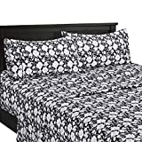 sheetsnthings Agnes-Printed Floral 300-Thread-Count, 100-Percent Cotton California King 4PC Bed Sheets Set, Black and White