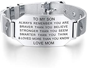 To My Son Always Remember You are Braver Stronger Courage Quotes Bracelet Love Gift from Mom and Dad