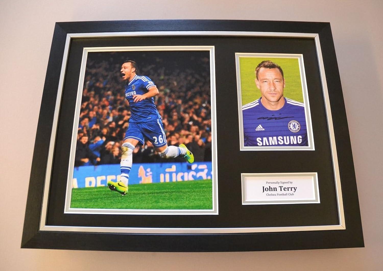 John Terry Signed Framed 16x12 Photo Autograph Chelsea Memorabilia Display + COA