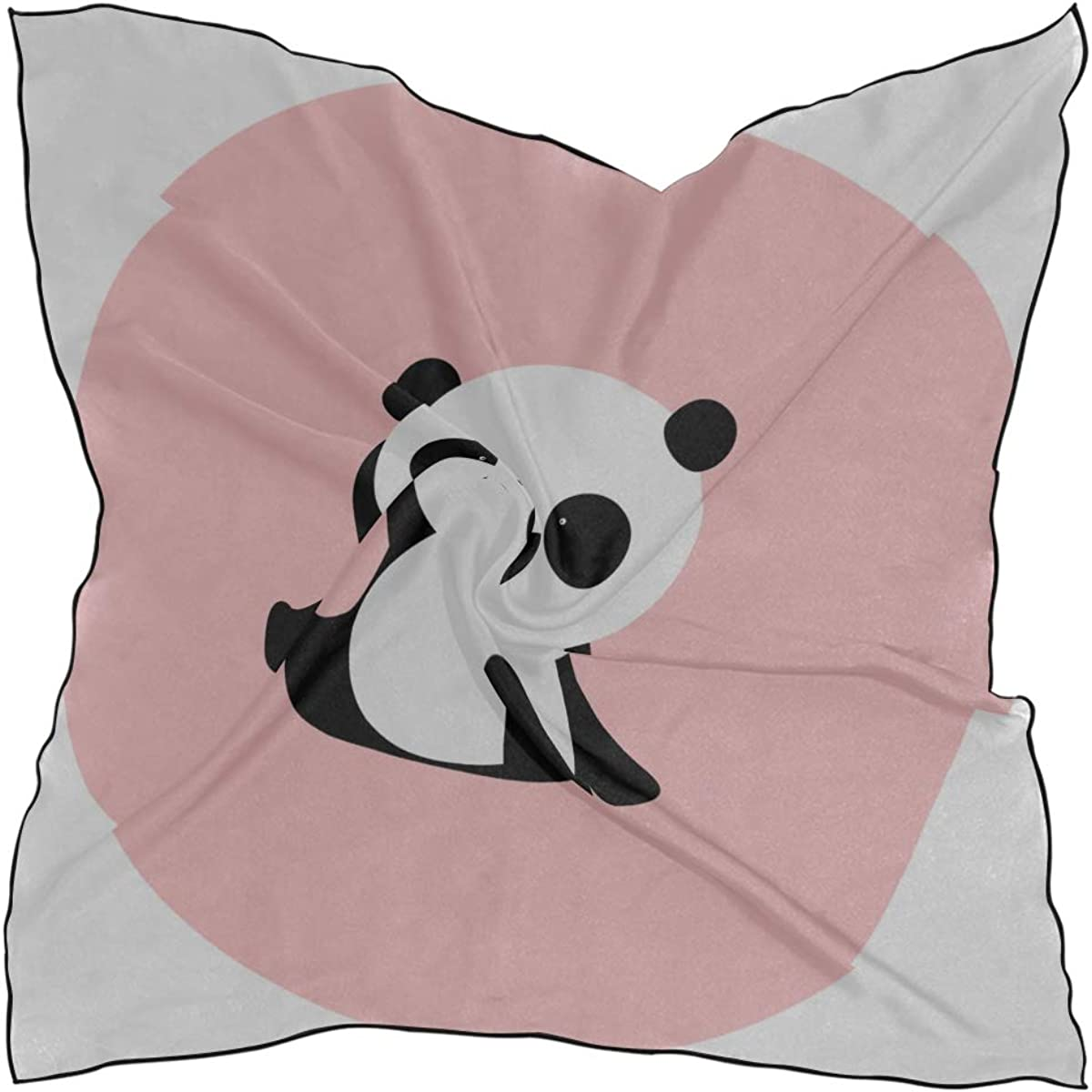 Soft Polyester Silk Face Scarves Fashion Print Chinese Panda Cartoon Fashion Scarves Headband Women Head Scarf Womens Lightweight Scarves Multiple Ways Of Wearing Daily Decor