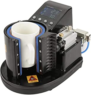 Yosoo Digital Pneumatic Auto Heat Transfer Sublimation Cup Mug Heat Press Printing Machine ST-110 Black (US Plug 110V)