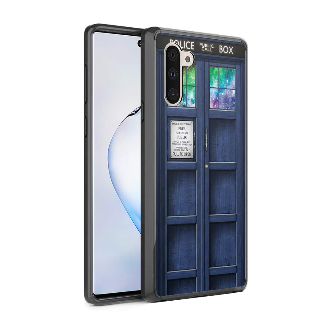 Moriko Gel Case Compatible with Galaxy Note 10 [Slim Thin Hybrid Jelly Drop Protection Shockproof Protector Black Case Cover] for Samsung Galaxy Note10 6.3 inch (Blue Phone Booth)