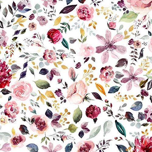 Jersey Stoff mit Blumen auf Weiß als Meterware zum Nähen von Baby, Kinder- und Erwachsen Kleidung - GOTS zertifiziert, 50 cm