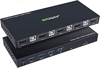 KVM Switch HDMI 4 Port Box, AIMOS HDMI 2.0 KVM Switcher Support Wireless Keyboard and Mouse Connections and with USB Hub P...