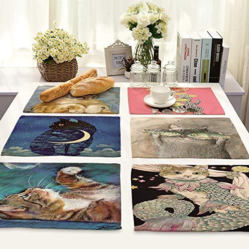 SPRK Set de table rectangulaire en lin avec motif de chat de dessin animé, respectueux de l'environnement, accessoire de décoration de cuisine