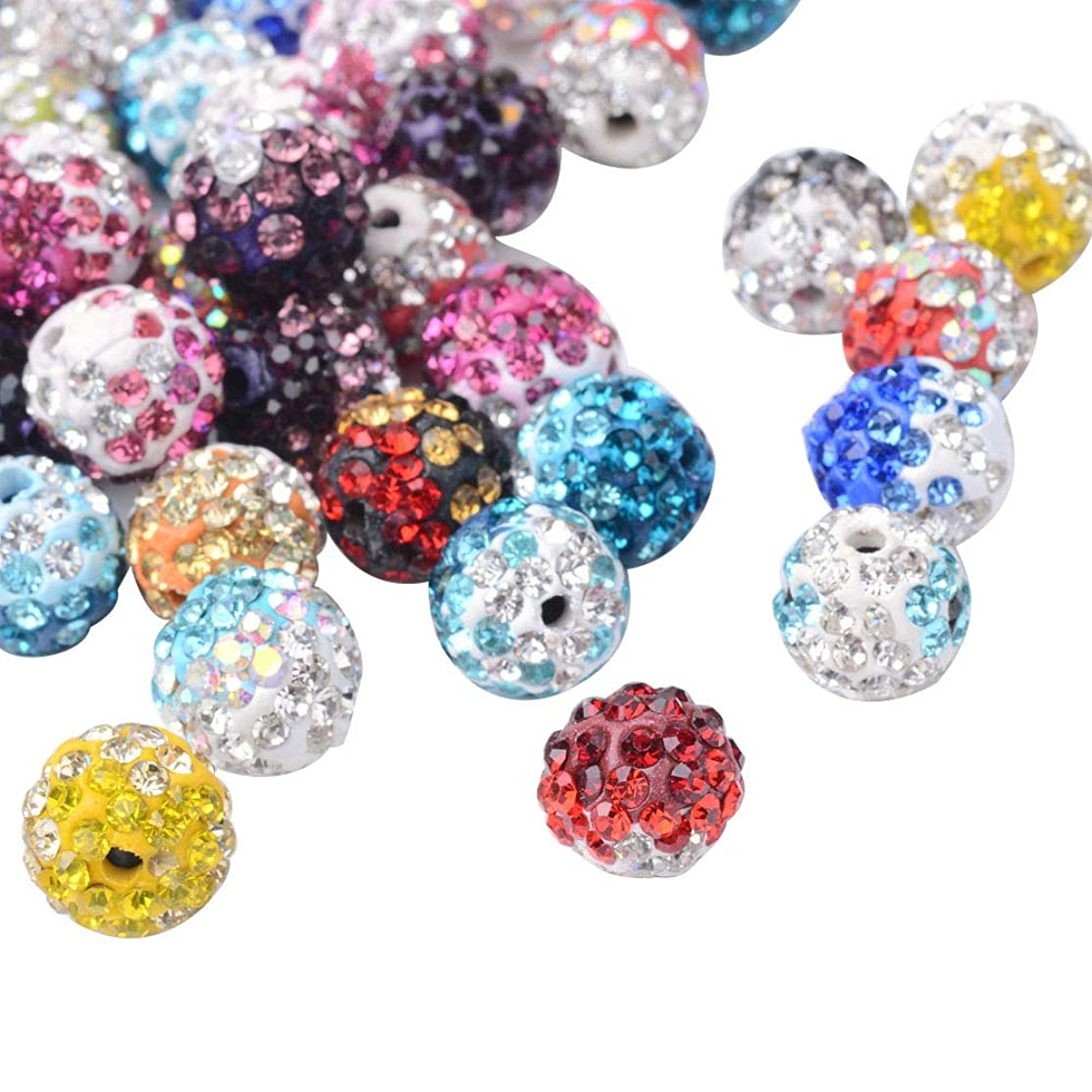 PH PandaHall About 100 Pcs 10mm Clay Pave Disco Ball Czech Crystal Rhinestone Shamballa Beads Charm Round Spacer Bead for Jewelry Making Mixed Colors