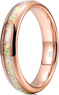 THREE KEYS JEWELRY 4mm Opal Rings for Women Black/Rose Gold Tungsten Engagement Wedding Gifts Bands
