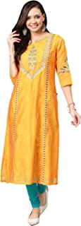 ALENA Women Mustard Yellow Embroidered Straight Kurta