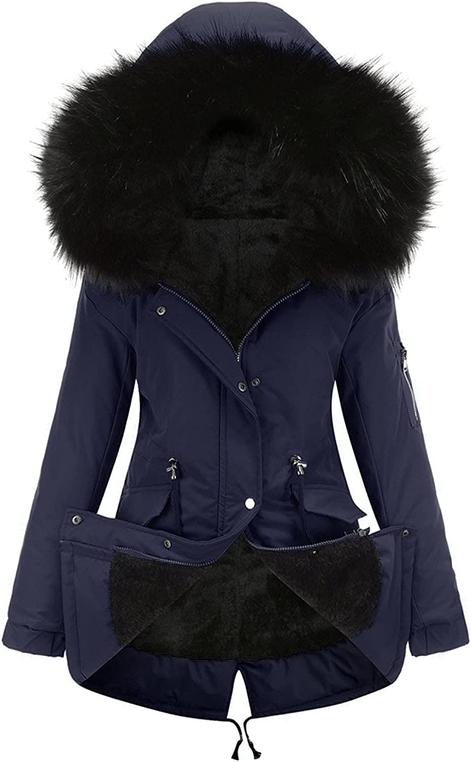 Women Mid-Length SEAL limited product Hooded Winter Warm Coat Fleece Plus Long Beach Mall Cotton