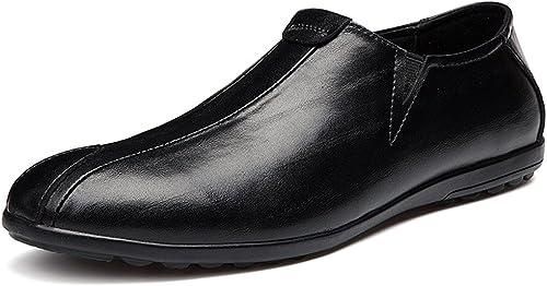 JIALUN-des Chaussures Chaussures Personnalité pour Hommes Mocassins de Conduite Décontracté en Cuir véritable Mocassins Confortables et de Couleur Unie et Confortables (Couleur   Noir, Taille   42 EU)  Nouvelle liste
