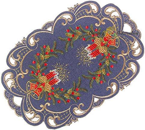30 cm Rond Polyester Quinnyshop Noel Bougie Clochette Nappe Napperon env Rouge