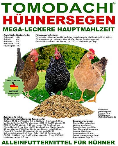 Hühnerfutter, Naturprodukt, hochwertiges Vollwertfutter für Geflügel, calziumreiche Komplettnahrung für alle Hühnerrassen, reich an Omega-3 Fettsäuren, natürlicher Immunschutz, Qualitäts Körnermischung für gesunde, glückliche Hühner, Tomodachi Hühnersegen 1kg Eimer - 9