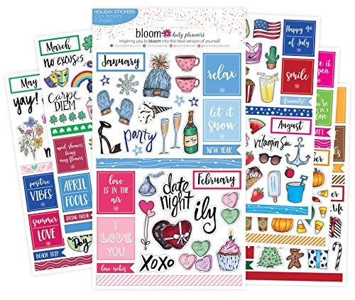 bloom daily planners Holiday Seasonal Planner Sticker Sheets - Seasonal Sticker Pack - Over 230 Stickers Per Pack!