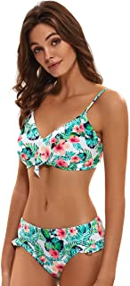 Women Bikini Swimsuit Bathing Adjustable Strap Retro Sexy Two Piece Tie Swimsuits Sets