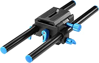 Neewer Universal Aluminum 15mm Rail Rod Support System High Riser DSLR Camera Mount Baseplate 9.8
